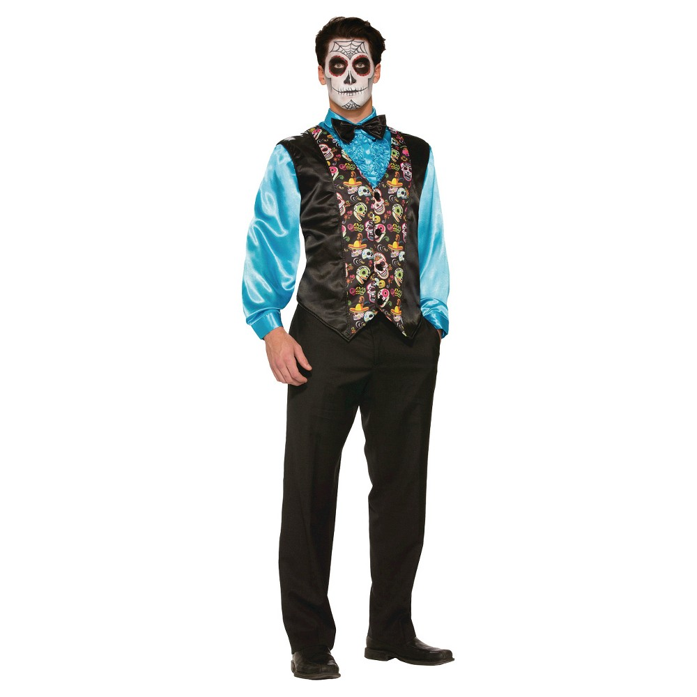 Adult Day Of the Dead Costume Vest - One Size Fits Most, Mens, Black