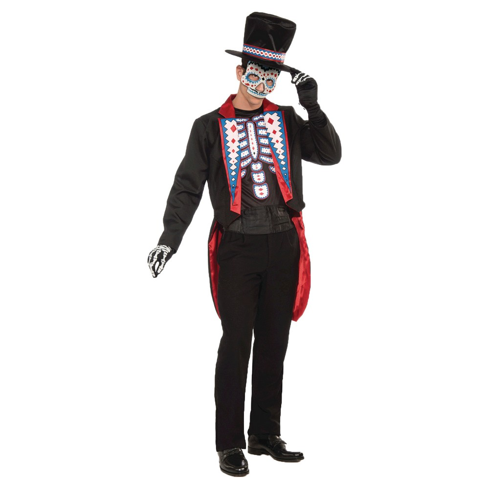 Mens Day Of The Dead Costume One Size Fits Most, Black