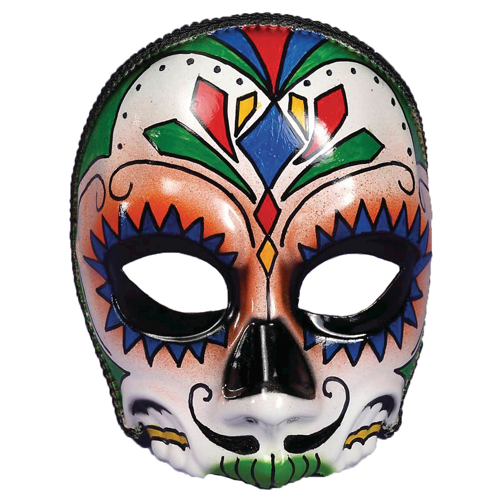Mens Day Of Dead Mask One Size Fits Most, Green