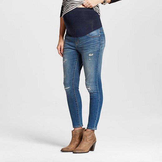 Maternity Over the Belly Medium Wash Distressed Ankle Skinny Jeans ...
