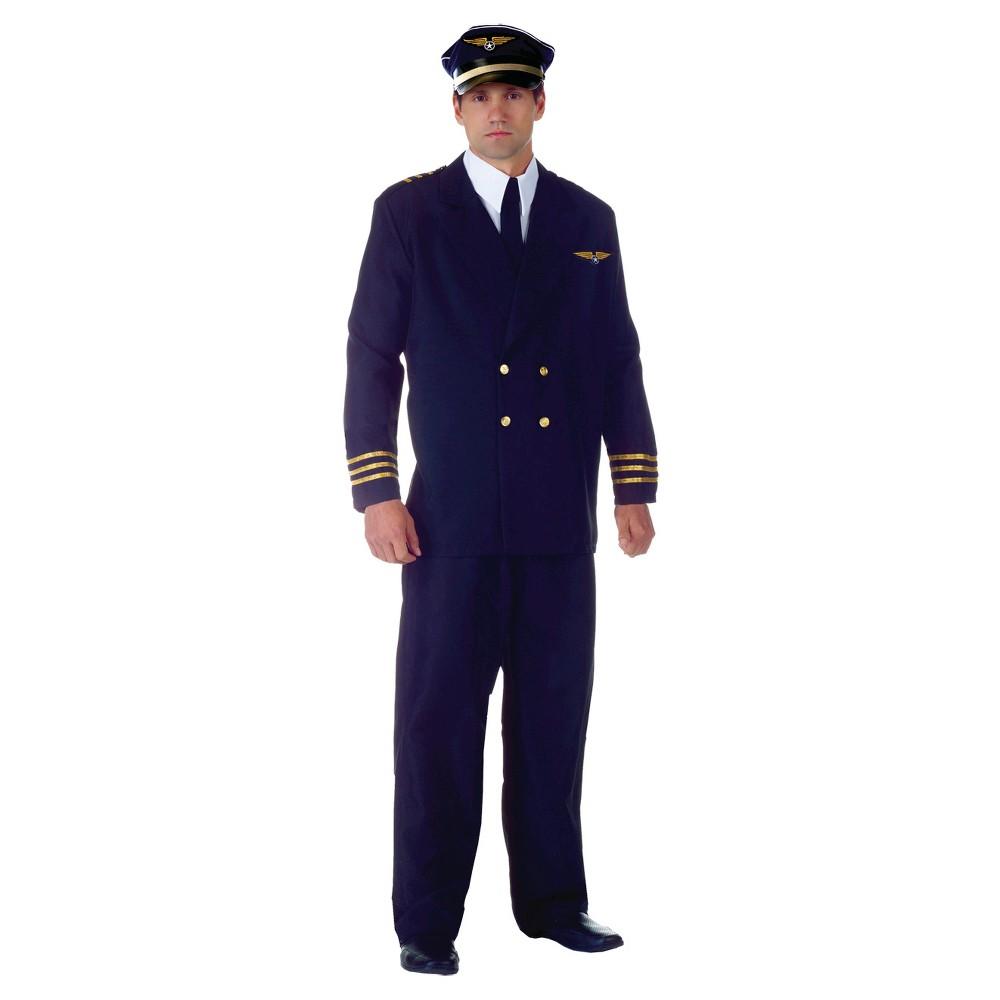 Boys Airline Captain Adult Black Costume - (Xxl), Blue
