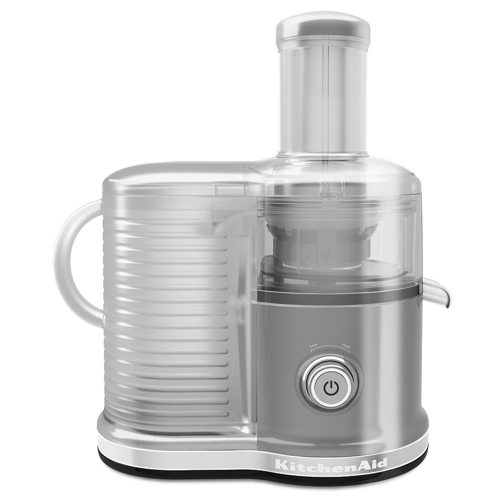 KitchenAid Easy Clean Juicer (fast juicer) - KVJ0333, Silver Find Juicers at Target.com! Juice more with a 3-in-1 adjustable pulp screen and clean less with the easy to clean ceramic disc. This Fast Juicer also has features multiple speed settings; Low for juicing softer fruits and vegetables and High for harder fruits and vegetables. An extra wide chute accept a whole apple, reducing prep work. Color: Silver.
