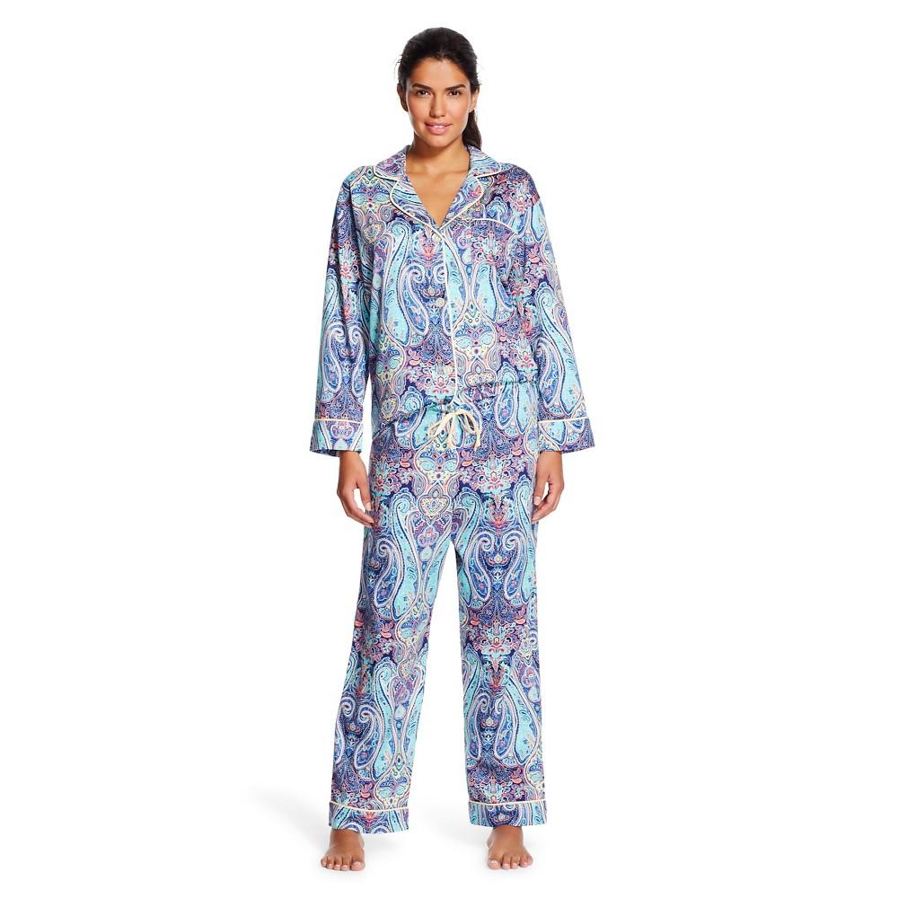 Bedhead Premium Women's Sleep Sateen Pajama Set - Midnight Marrakesh S, Blue
