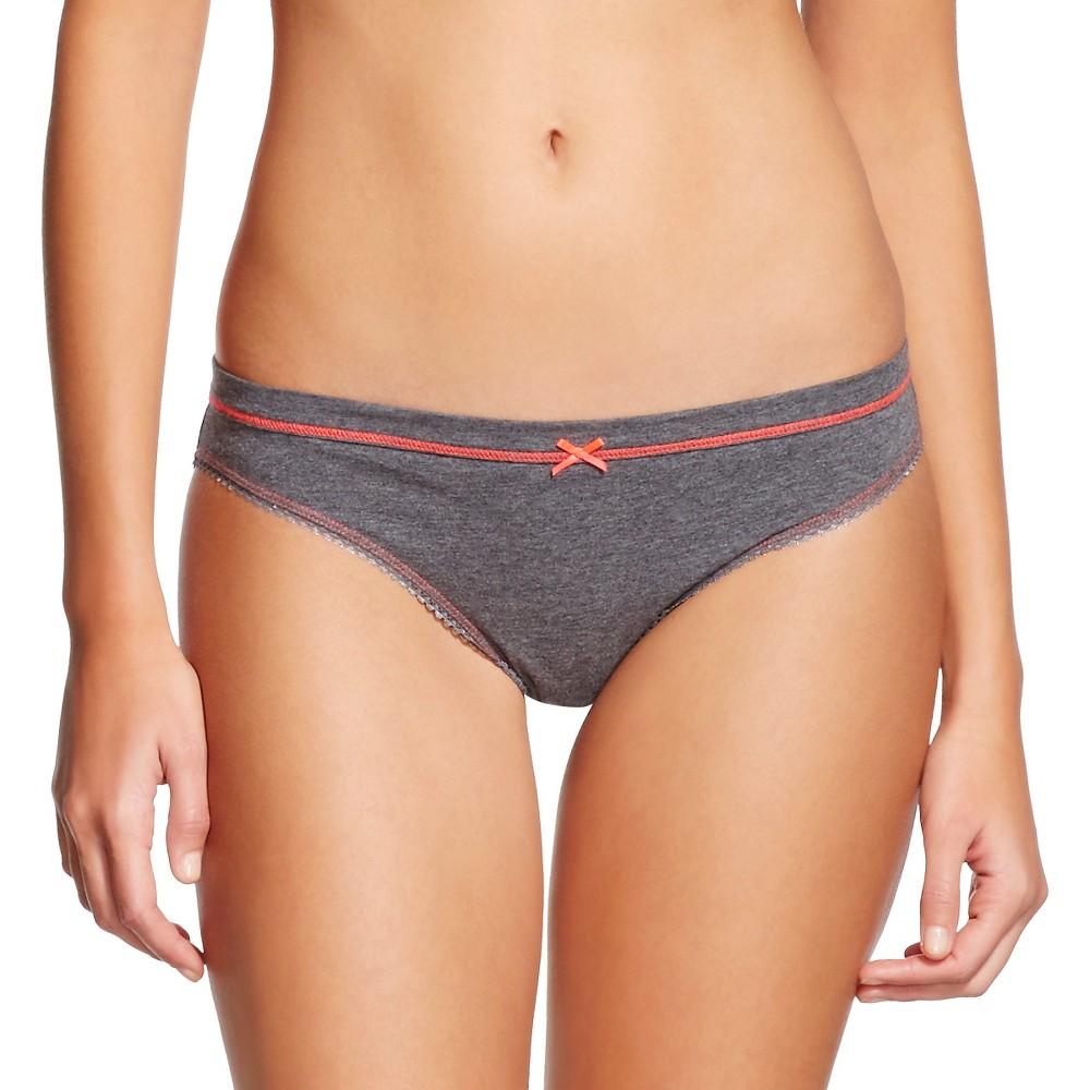Womens Cotton Bikini Briefs - Xhilaration Charcoal Heather L