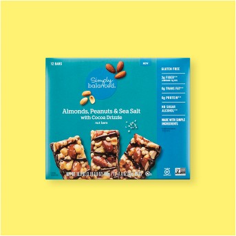 Almonds, Peanuts & Sea Salt with Cocoa Drizzle Nut Bars - 12ct - Simply Balanced™
