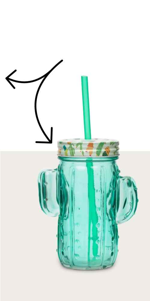 Amici Home Cactus Green 16 oz Glass Mason Jars with Reusable Straws, Set of 6