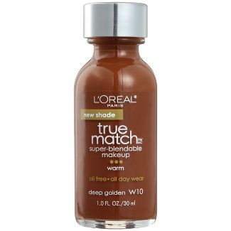 L'Oreal Paris True Match Super-Blendable Foundation Makeup with SPF 17 - W10 Deep Golden - 1 fl oz