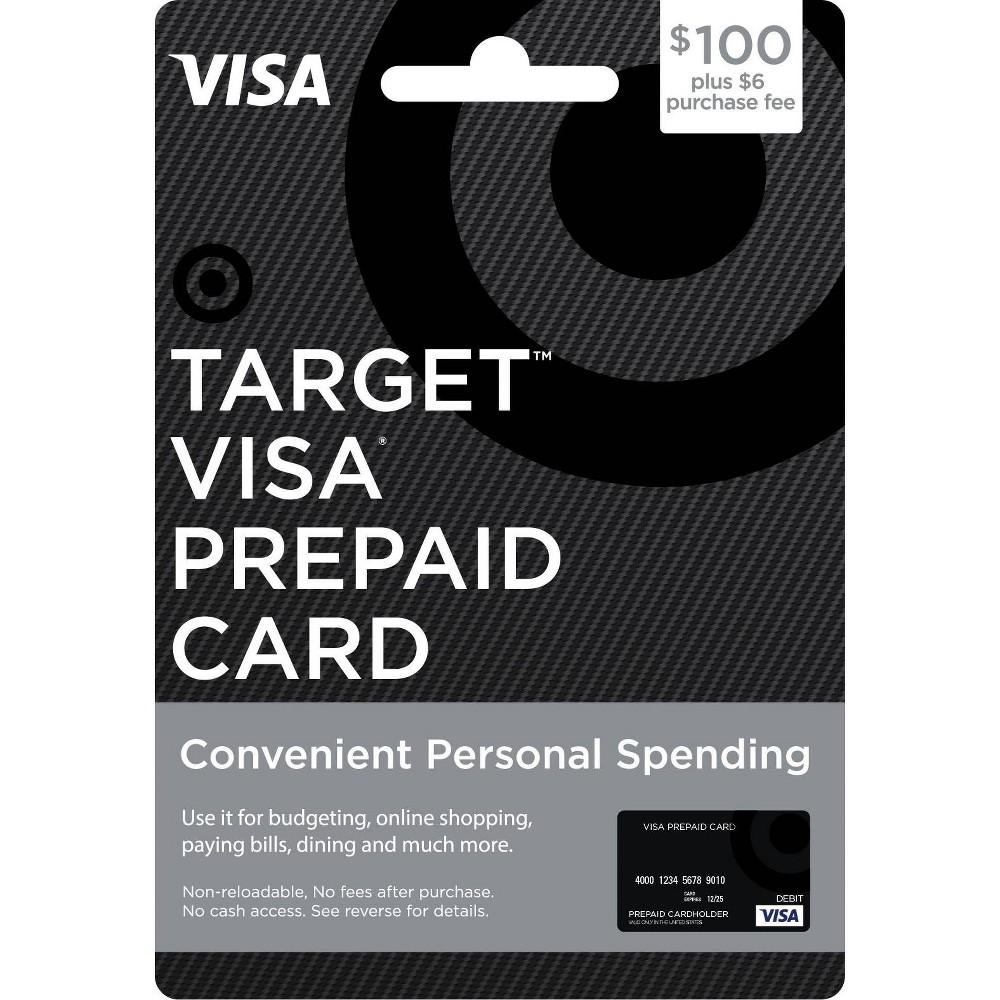 """$100 Visa Prepaid Card - $100 + $6 Fee The Target Visa Prepaid Card is an easy to use Prepaid card. More flexible than gift certificates, Target Visa Prepaid Cards are available in $100 and $200 denominations (see * exceptions below). Enjoy using your Target Prepaid Cards at millions of locations nationwide where Visa debit cards are accepted. Card cannot be purchased with a Target GiftCard. Number of cards purchased may be limited. To return card, package must be unopened. Features and Benefits: • Use at millions of locations within the fifty (50) United States and the District of Columbia accepting Visa debit cards.** • Target Visa Gift Card (""""Gift Card"""") balances are protected against unauthorized purchases with the Visa Zero Liability policy.*** • Customer Service available 24 hours a day at www.mybalancenow.com or 800-698-4952. *Availability: Prepaid Cards are only available for distribution in the United States. Restrictions apply in certain states: The $200 and $400 Prepaid Cards are not available to Hawaii residents. **Terms and Conditions: Terms AND Conditions Apply TO THE Gift Card. See Cardholder Agreement at www.mybalancenow.com for further details. This card is valid only at merchants in the U.S. and District of Columbia wherever Visa debit cards or Pulse debit cards are accepted. If you wish to use the Pulse network, you must set a Pin by entering in a four-digit number when you use the debit option. This number will also be your Pin for further Pulse transactions. The Gift Card may not be purchased for resale or resold. This card cannot be used at casinos, cruise liners, ATMs or for recurring payments. This card is non-reloadable and is not redeemable for cash (except where required by law). ***The Visa Zero Liability policy covers U.S.–issued cards only and does not apply to ATM transactions, Pin transactions not processed by Visa, or certain commercial card transactions. Cardholder must notify issuer promptly of any unauthorized use. Consult issuer """