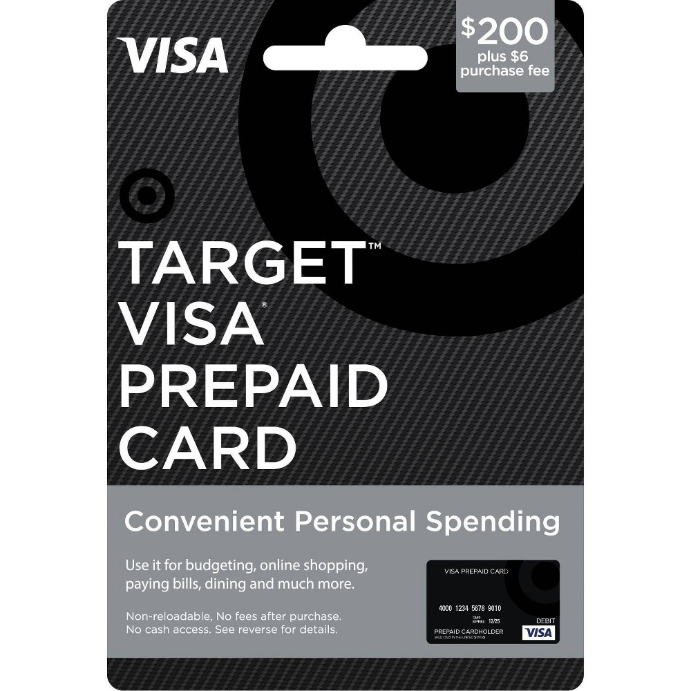 """Visa Prepaid Card - $200 + $6 Fee The Target Visa Prepaid Card is an easy to use Prepaid card. More flexible than gift certificates, Target Visa Prepaid Cards are available in $100 and $200 denominations (see * exceptions below). Enjoy using your Target Prepaid Cards at millions of locations nationwide where Visa debit cards are accepted. Card cannot be purchased with a Target GiftCard. Number of cards purchased may be limited. To return card, package must be unopened. Features and Benefits: • Use at millions of locations within the fifty (50) United States and the District of Columbia accepting Visa debit cards.** • Target Visa Gift Card (""""Gift Card"""") balances are protected against unauthorized purchases with the Visa Zero Liability policy.*** • Customer Service available 24 hours a day at www.mybalancenow.com or 800-698-4952. *Availability: Prepaid Cards are only available for distribution in the United States. Restrictions apply in certain states: The $200 and $400 Prepaid Cards are not available to Hawaii residents. **Terms and Conditions: Terms AND Conditions Apply TO THE Gift Card. See Cardholder Agreement at www.mybalancenow.com for further details. This card is valid only at merchants in the U.S. and District of Columbia wherever Visa debit cards or Pulse debit cards are accepted. If you wish to use the Pulse network, you must set a Pin by entering in a four-digit number when you use the debit option. This number will also be your Pin for further Pulse transactions. The Gift Card may not be purchased for resale or resold. This card cannot be used at casinos, cruise liners, ATMs or for recurring payments. This card is non-reloadable and is not redeemable for cash (except where required by law). ***The Visa Zero Liability policy covers U.S.–issued cards only and does not apply to ATM transactions, Pin transactions not processed by Visa, or certain commercial card transactions. Cardholder must notify issuer promptly of any unauthorized use. Consult issuer for a"""
