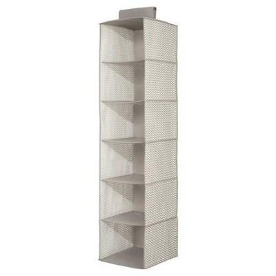 InterDesign Chevron Fabric Baby Closet 6-Shelf Hanging Organizer - Gray/Cream, Large