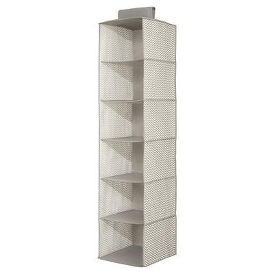InterDesign Chevron Fabric Baby Closet 6 Shelf Hanging Organizer    Gray/Cream, Large