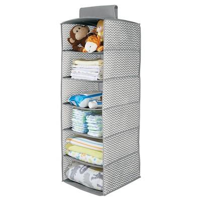 interdesign chevron fabric baby closet 6shelf hanging organizer graycream large