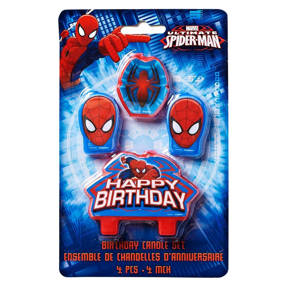 4ct Spider-Man Birthday Candles, Multi-Colored