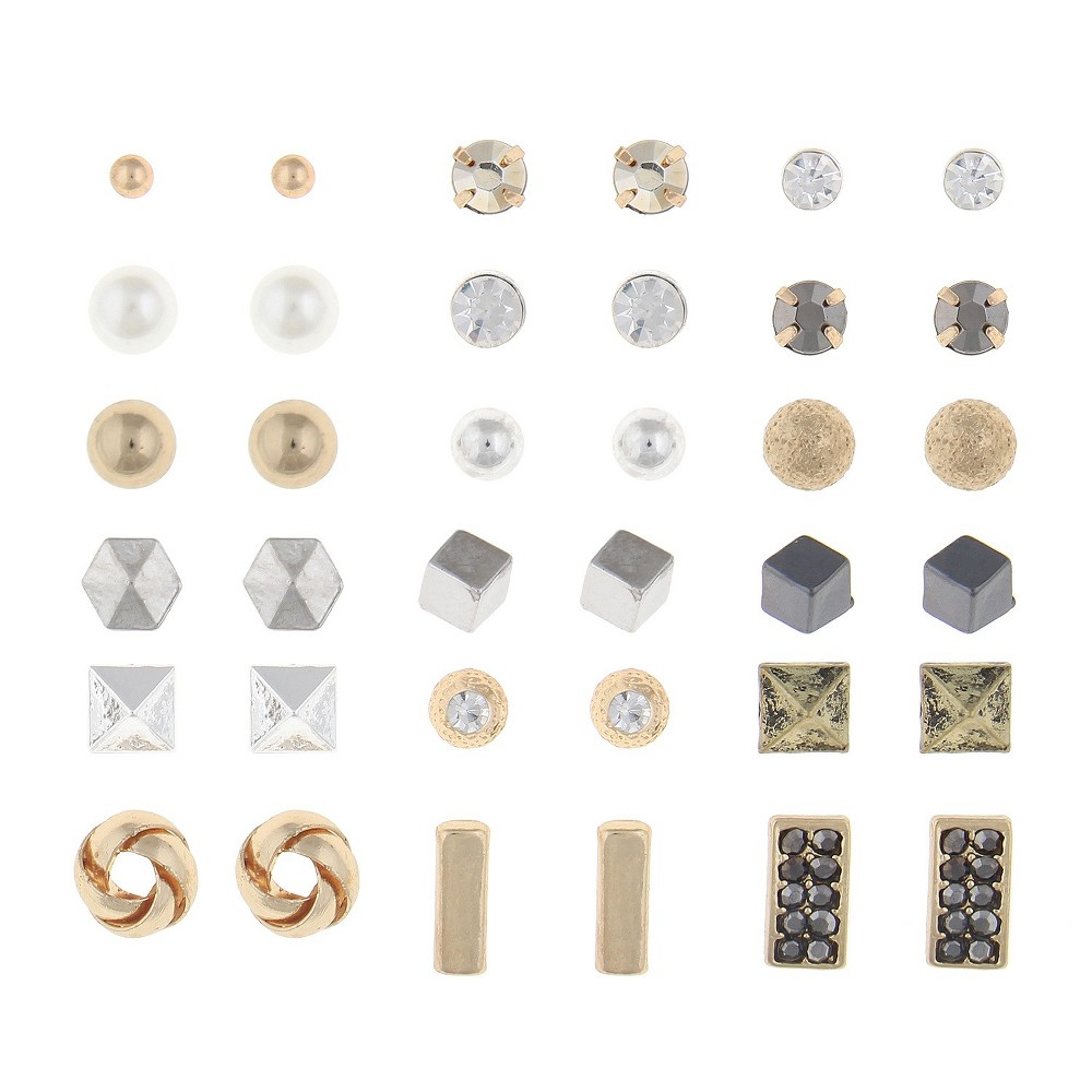 Women's 18 Pair Earrings With Geo And Ball Studs - Gold / Silver, Multi-Colored