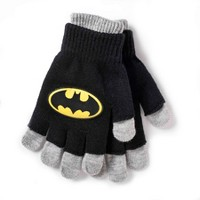 Batman Kids' Double Layer Gloves Black/Navy One Size
