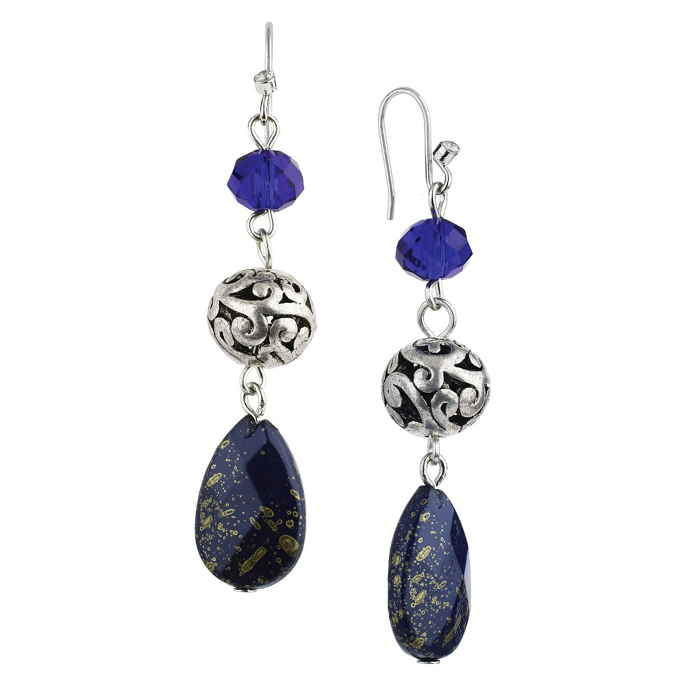Womens Rhodium Faceted Teardrop and Artisan Beads Dangle Drop Earrings - Silver/Blue