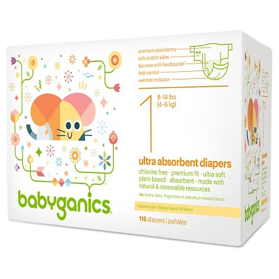 Babyganics Diapers - Size 1 (116 ct)