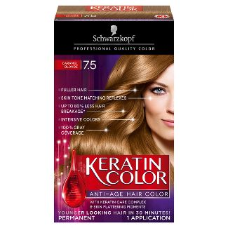Schwarzkopf Keratin Color Anti-Age  Hair Color 7.5 Caramel Blonde - 2.03 fl oz