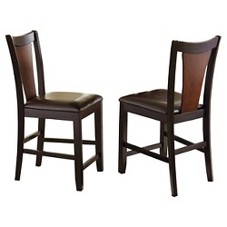 Broward Counter Height Dining Chairs Wood White Brown Set