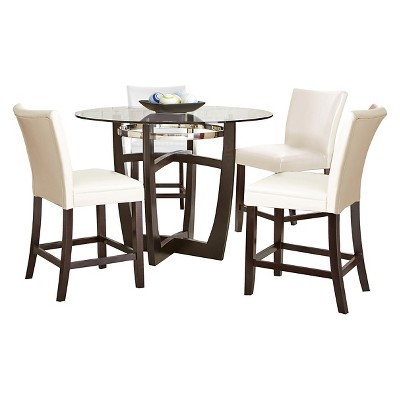 5 Piece Margo Counter Height Dining Table Set Wood/White   Steve Silver  Company