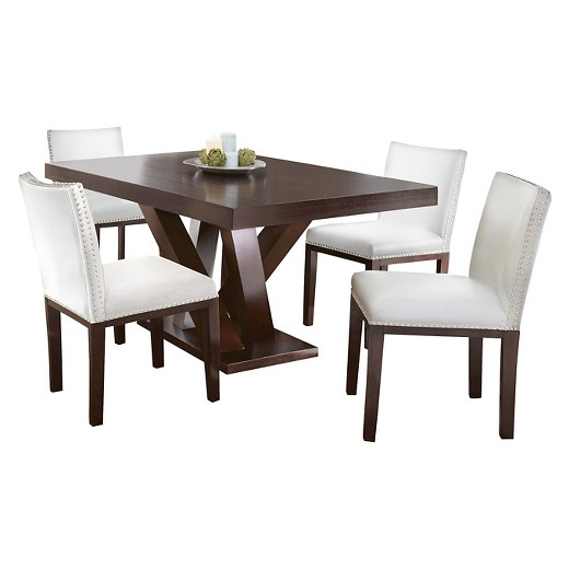 5 piece whitney dining table set wood white brown steve silver company target - Silver dining tables ...