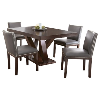 5 Piece Whitney Dining Table Set Wood/Brown/Gray   Steve Silver Company