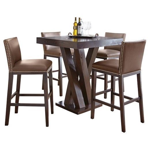 5 piece whitney bar height dining table set wood/chocolate - steve