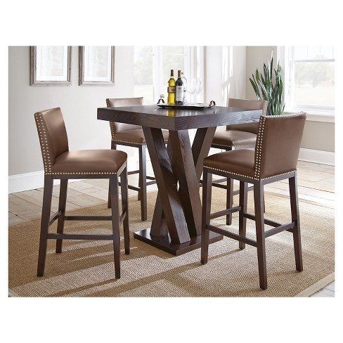 5 Piece Whitney Bar Height Dining Table Set Wood Chocolate Steve Silver Company Target
