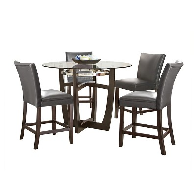 5 piece margo counter height dining table set woodgray steve silver company