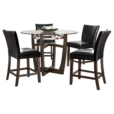 5 Piece Counter Height Dining Table Set Wood/Black   Steve Silver Margo