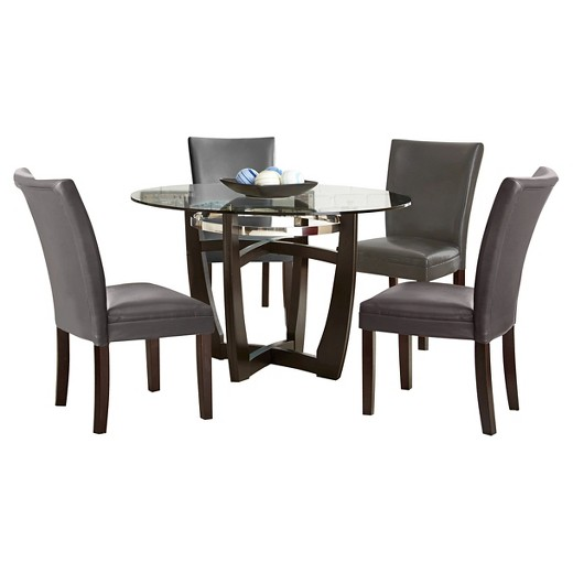 dining table set wood chocolate grey steve silver company target