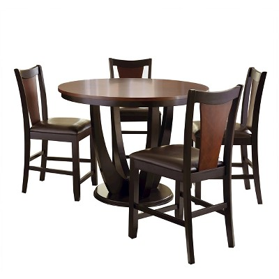 5 Piece Kieren Counter Height Dining Table Set Wood/Brown   Steve Silver  Company
