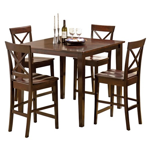 5 piece coral dining table set wood brown steve silver for Brown dining table set