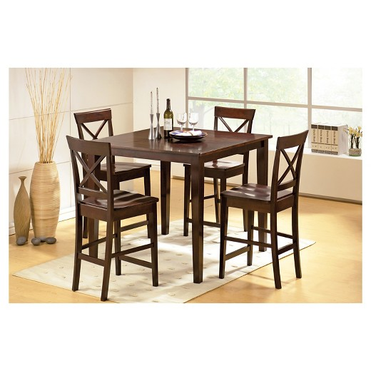 5 Piece Coral Dining Table Set WoodBrown Steve Silver Company