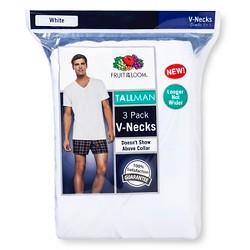 Fruit of the Loom® Men's 3pk Tall Man V-Neck T-Shirt - White 2XLT