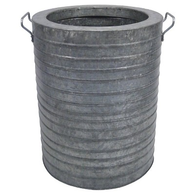 Ribbed Galvanized Round Planter 21  - Threshold™