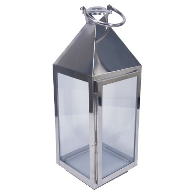 Outdoor Lantern Stainless Steel & glass Polished Silver Tall - Threshold™