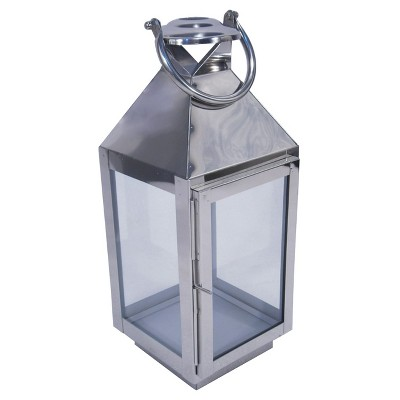 Outdoor Lantern Stainless Steel & glass Polished Silver Short - Threshold™