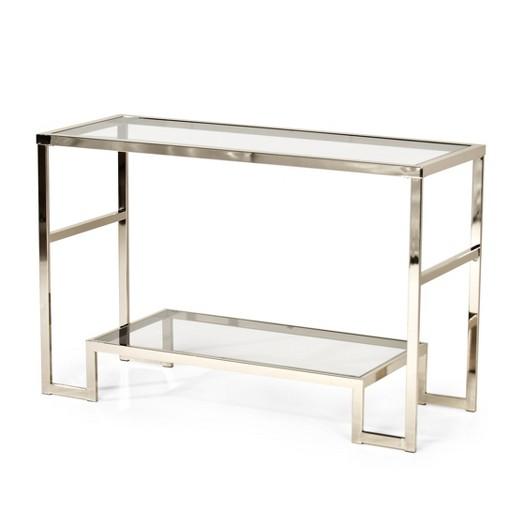 Carol chrome and glass sofa table steve silver co target for Sofa table glass