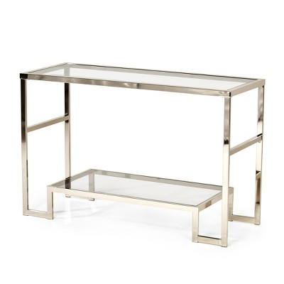 Carol Chrome And Glass Sofa Table   Steve Silver Co.