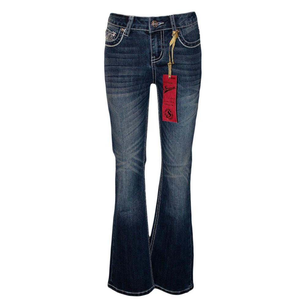 Girls Seven7 Bootcut Jeans - Indigo Blue 10