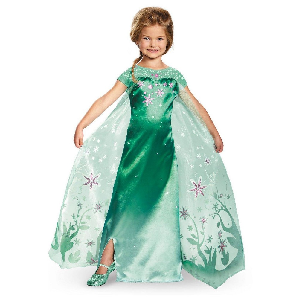 Frozen Kids Elsa Fever Deluxe Costume Large, Girls, Size: L(10-12), Green