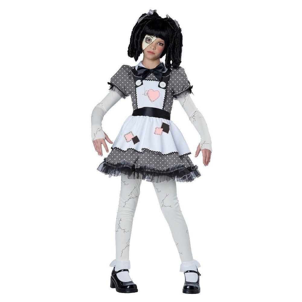 Kids Haunted Doll Costume - L(10-12), Girls, Gray