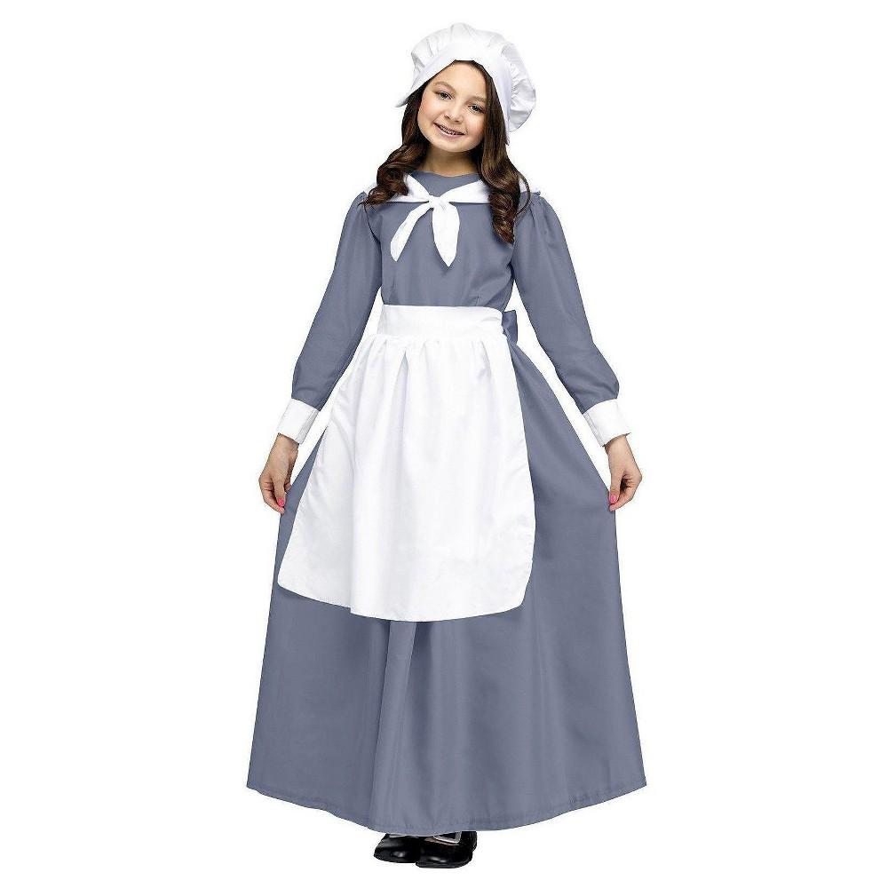 Girls Pilgrim Girl Costume Medium, Size: M(7-8), Gray