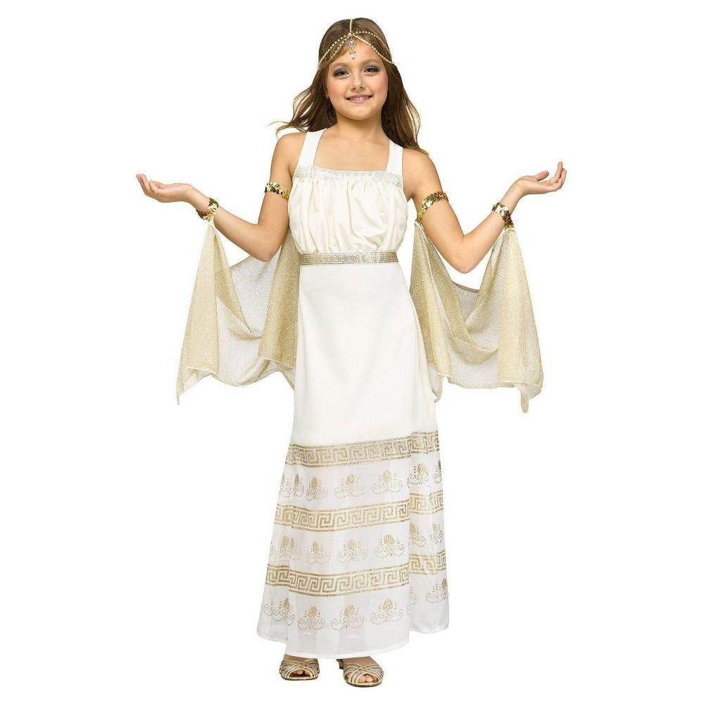 Kids Golden Goddess Costume White Medium, Girls, Size: M(7-8)