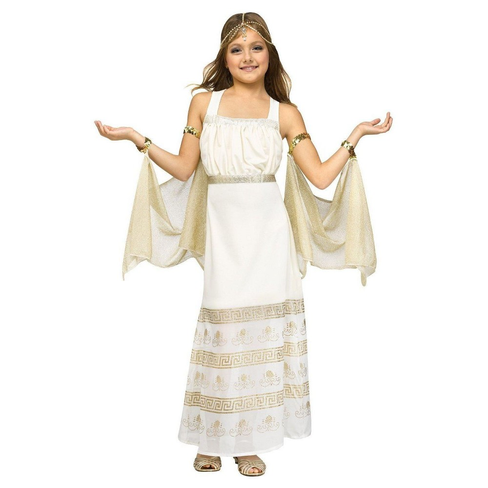 Kids Golden Goddess Costume Small, Girls, Size: L(10-12), White