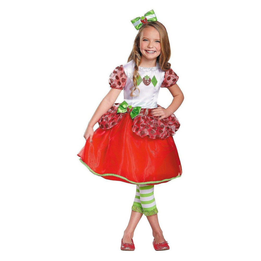 Strawberry Shortcake Girls Deluxe Costume Small, Size: S(4-6), Red