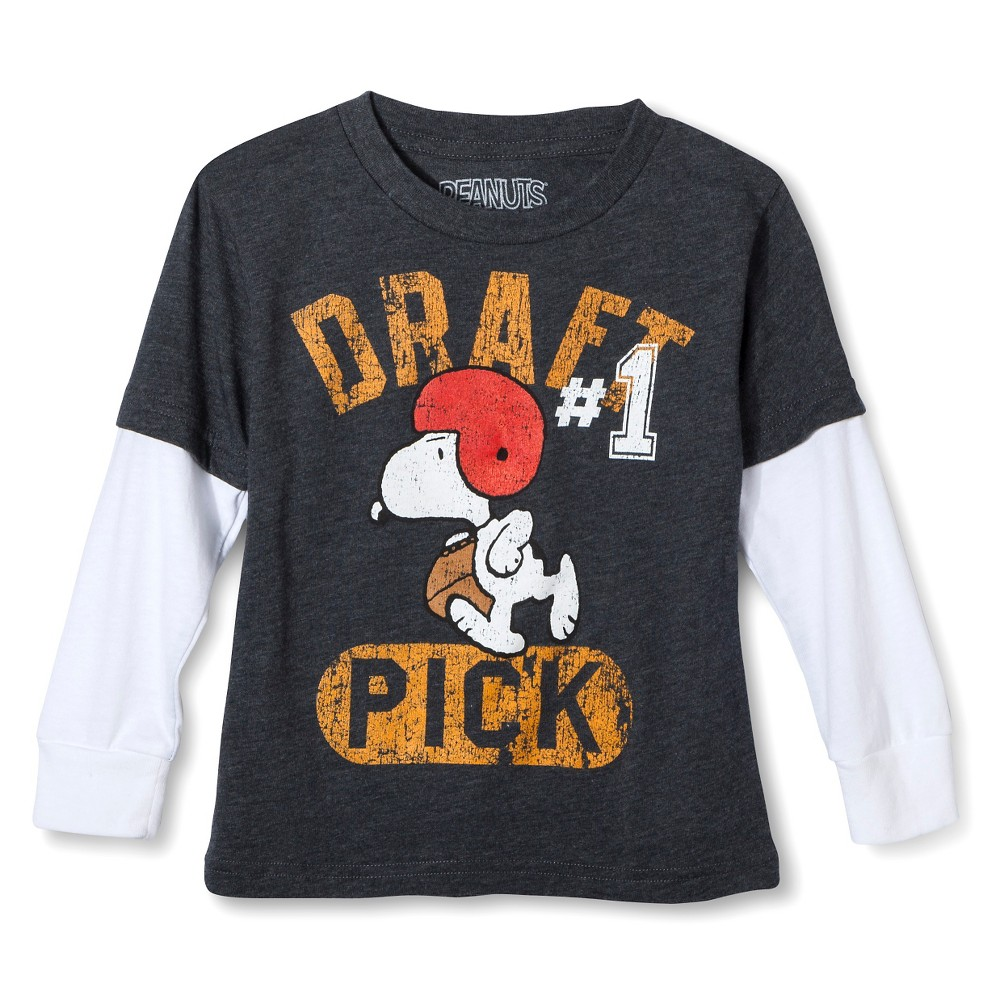 Toddler Boys' Snoopy T- Shirt - Charcoal Heather 5T, Gray