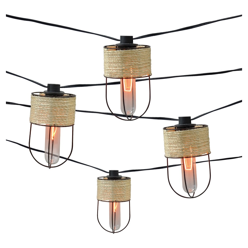 10ct Decorative String Lights-String Wrapped Metal Cage C...