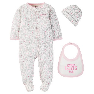 Just One You™ Made by Carter's® Baby Girls' 3pc Footed Sleeper - Pink 3M